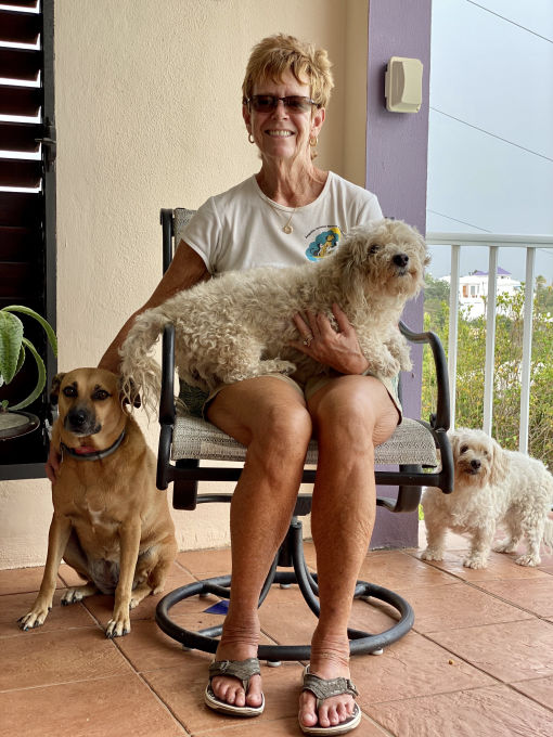 Denise Greaves and her dogs