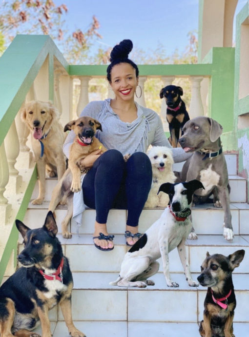 Vanessa Croft, Adoptions Chair, with her dogs