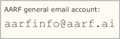 graphic showing the aarfinfo email address
