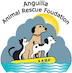 This is the AARF logo, which shows three animals on a yellow life raft: a small black and white kitten, a larger brown dog with a collar and a small black and white dog. Grey clouds suggest an urgent need to find good homes for these animals. Floating on blue waves suggesting the Caribbean sea that surrounds Anguilla, the raft shows that these animals have a protector in AARF and its supporters. Finally, the sun peeks out from behind the clouds, representing hope for these deserving animals.