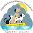The AARF logo shows three animals on a yellow AARF life raft, floating on the sea with gray clouds; sunlight peeks down on them, representing hope.